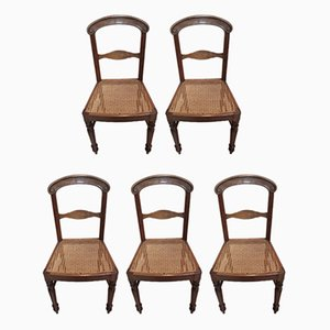 Antique Oak & Cane Dining Chairs, Set of 5