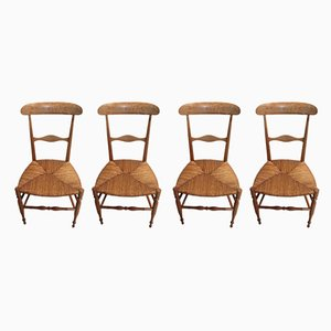 Antique Directoire Style Mahogany Dining Chairs, Set of 4