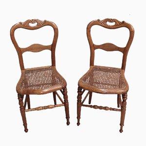 Kleine antike Esszimmerstühle aus Kirschholz, 2er Set