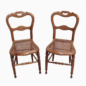 Small Antique Cherrywood Dining Chairs, Set of 2