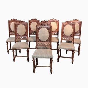 Antike Renaissance Esszimmerstühle aus Nussholz, 8er Set
