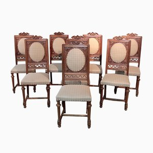Antique Renaissance Style Walnut Dining Chairs, Set of 8