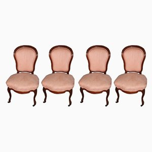 Antique Pink Mahogany Dining Chairs, Set of 4