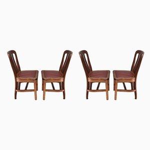 Chaises de Salle à Manger Vintage en Chêne Massif, Set de 4