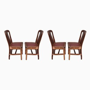 Vintage Solid Oak Dining Chairs, Set of 4