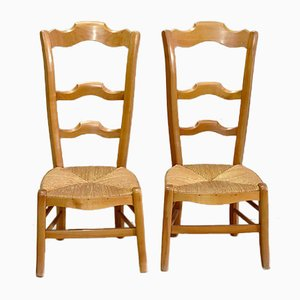 Antique Cherrywood Low Chairs, Set of 2