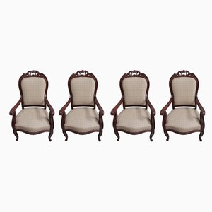 Antique Mahogany Dining Chairs, Set of 4