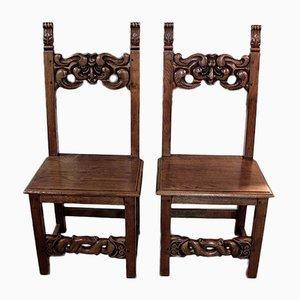 Antike lothringische Esszimmerstühle aus Eiche, 2er Set
