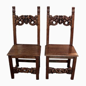 Antique Oak Lorraine Dining Chairs, Set of 2