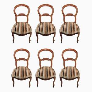 Antike Louis Philippe Esszimmerstühle aus Nussholz, 6er Set