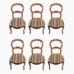 Antique Walnut Louis Philippe Dining Chairs, Set of 6