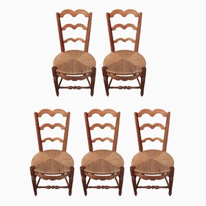 Antique Cherry Dining Chairs, Set of 5