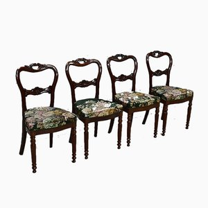 Small Antique Louis Philippe Dining Chairs, Set of 4