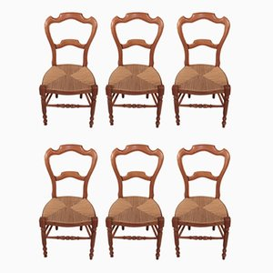 Antique Louis Philippe Cherry Wood Dining Chairs, Set of 6