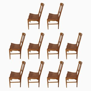 Vintage Beech Dining Chairs, Set of 10