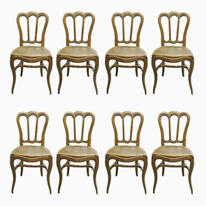 Antique Louis Philippe Oak Dining Chairs, Set of 8