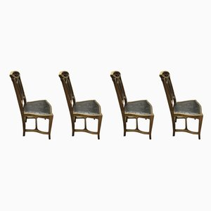 Antique Art Nouveau Walnut Dining Chairs, Set of 4