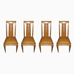 Vintage Beech Dining Chairs, Set of 4