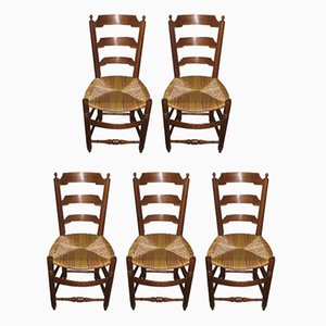 Antique Ash Dining Chairs, Set of 5