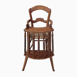 Antique Ash Wood Children's High Chair