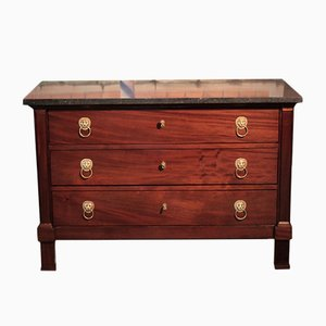 Antique Mahogany Veneer and Black Marble Dresser