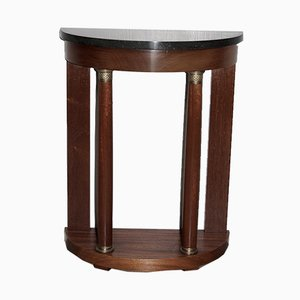 Vintage Mahogany and Black Marble Console Table