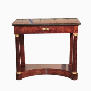 Antique Burl Mahogany and Black Marble Console Table