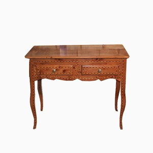 Antique Cedar Marquetry Console Table
