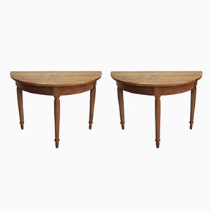 Antique Half Moon Console Tables, Set of 2