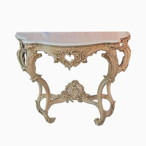 Antique Wood and White Marble Console Table