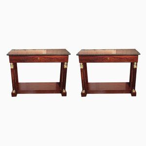 Antique Mahogany Veneer and Gray Marble Console Tables, Set of 2
