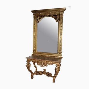 Antiker Louis XIV Konsolentisch aus vergoldetem Holz