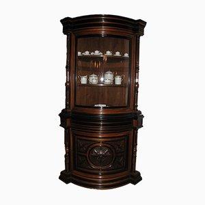 Antique Napoleon III Style Walnut Corner Cabinet