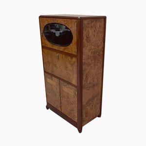 Vintage Thuya Burl Veneer Tall Cabinet