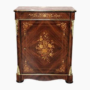 Antique Napoleon III Amaranth, Rosewood, and Marble Cabinet