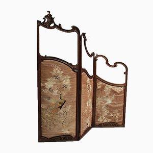 Antiker Wandschirm aus Nussholz und Glas im Louis XV Stil