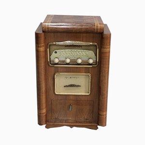 Vintage Radio-Plattenspieler aus Nussholz