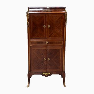 Antique Mahogany, Rosewood, and Marble Cabinet