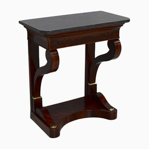 Small Antique Mahogany Veneer and Marble Console Table