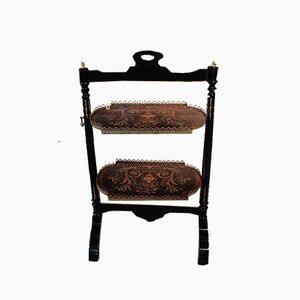 Antique Mahogany Tilt-Top Tiered Tray