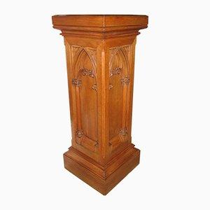 Colonna vintage in stile gotico in legno di quercia