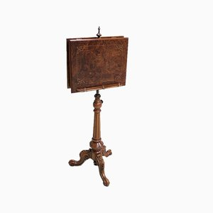 Antique Burl Walnut Veneer Lectern