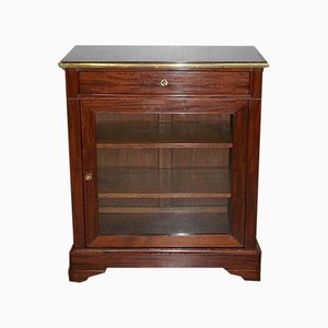 Antique Mahogany and Black Marble Vitrine