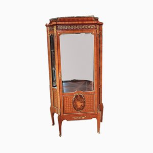 Antique Rosewood Marquetry and Gray Marble Display Case