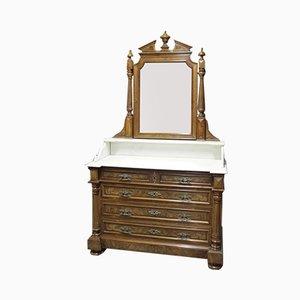 Vintage Walnut Veneer and White Marble Dresser
