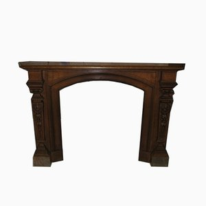 Vintage Oak Fireplace Mantel, 1920s