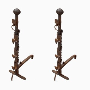Antique Wrought Iron Andirons, Set of 2