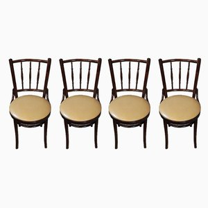 Vintage Beech and Leather Dining Chairs, Set of 4