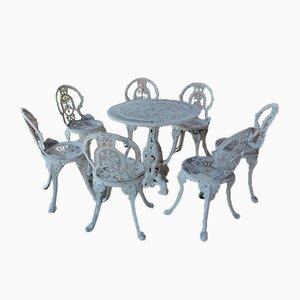 Juego de mesa y silla de jardín vintage de hierro fundido, años 70