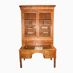 Antique Office Desk with Bookcase, 1870s